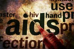 Syringe on Hiv - aids grunge concept Stock Illustration