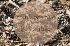 Autumn Greeting Card, Quote Be Positive Stock Photos