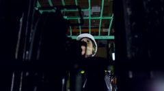 Close up of A female forklift truck driver Stock Footage