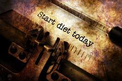 Start diet today text on typewriter Stock Illustration