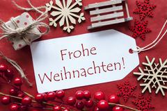 Label WIth Decoration, Frohe Weihnachten Means Merry Christmas Kuvituskuvat