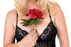 Chest of woman in lingerie. Stock Photos