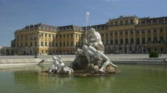 European architecture. Fountain in front of Schonbrunn palace Stock Footage