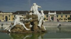Travelling in Europe. fountain near Schloss Schonbrunn in Vienna Stock Footage