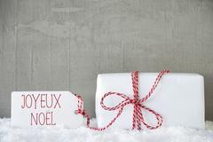 One Gift, Urban Cement Background, Joyeux Noel Means Merry Christmas Stock Photos