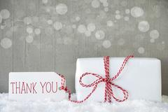 Gift, Cement Background With Bokeh, Text Thank You Stock Photos