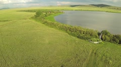 Aerial view of in the steppe with lake of Kazakhstan Stock Footage