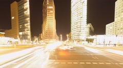 City traffic at night time lapse, Berlin Stock Footage