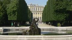 Fountain in garden of Schloss Schonbrunn in Vienna Stock Footage