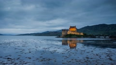 Scottish Castle - Eilean Donan at Night Stock Footage