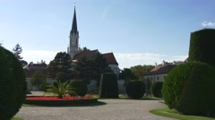 Sankt Maria Geburt church behind Schonbrunn garden Stock Footage