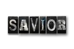 Savior Concept Isolated Letterpress Type Stock Illustration
