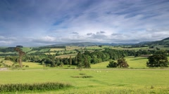 Fresh Green Pastures of Cumbria, Lake District UK Stock Footage