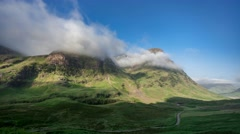 Cloud Capped Peaks of Scottish Highlands Stock Footage