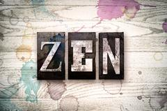 Zen Concept Metal Letterpress Type Stock Illustration