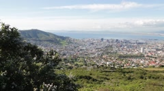 N south africa cape town city skyline from table mountain Stock Footage
