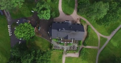 Cinema 4k rising aerial view of bodom mansion, at bodom lake in Espoo, Finlan Stock Footage