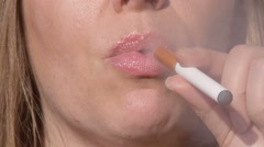 Woman Smoking E-Cigarette and Coughing Front View Stock Footage