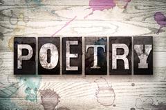 Poetry Concept Metal Letterpress Type Stock Illustration