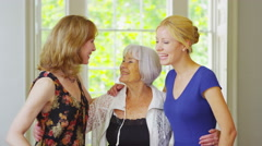 4K Portrait 3 generations of beautiful female members family together at home Stock Footage