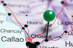 Chosica pinned on a map of Peru Stock Photos