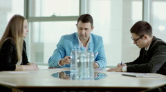 Boss asks for operation reports Stock Footage