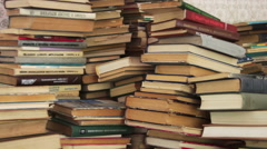 Pile of Books Scattered on the Floor in the Library Stock Footage