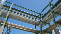 Oil and chemical liquid pipe transfer with steel structure Stock Footage