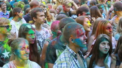 Many young people on the festival of colors Holi (Editorial) Stock Footage