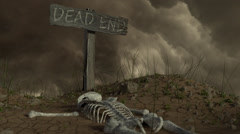 Dead End Sign with Skeleton Tilt-up Stock Footage