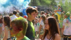 People celebrating during the color Holi Festival of Colors (Editorial) Stock Footage