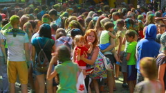 Happy dirty girl during Festival of color holi (Editorial) Stock Footage