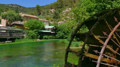 Fontaine-De-Vaucluse Famous Tourist Spot And Small Village In France Stock Footage