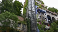 Colorful modern architecture of Hundertwasser house Stock Footage