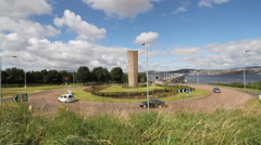 Timelapse of traffic at road junction for Tay Road Bridge. Dundee, Scotland Stock Footage