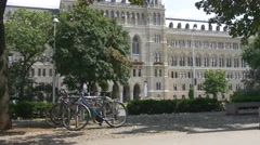 Bicycles in front of Rathaus (city hall) Stock Footage