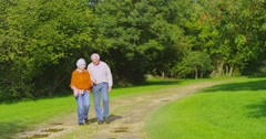 4K Affectionate senior couple holding hands as they walk in the countryside Stock Footage