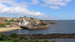 Elevated view of Crail Harbour Fife Scotland Stock Footage