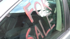 Car for sale sign paint window Stock Footage