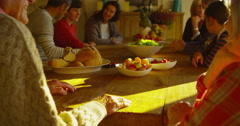 4K Romantic senior couple spending time with family hold hands at dinner table Stock Footage