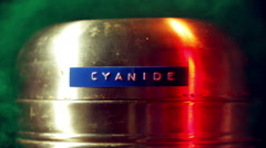 Cyanide cannister poison gas Stock Footage