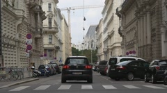 Vienna city street with old buildings Stock Footage