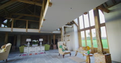 4K Interior living area in stylish country home with lots of natural light Stock Footage