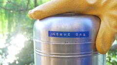 Nerve gas cannister metal containment Stock Footage