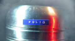 Polio cannister storage Stock Footage