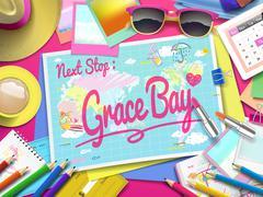 Grace Bay Beach on map Stock Illustration