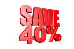 3d illustration save 40% Stock Illustration