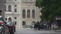 Riding horse drawn carriage - the most popular attraction in Vienna Stock Footage