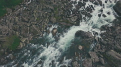 Clear water in the rocky shoals of the mountain river Stock Footage