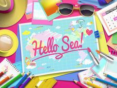 Hello Sea on map Stock Illustration